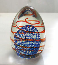 Vintage  Art Glass  BLUE LATTICE and RED SWIRL  PAPERWEIGHT  Egg Shaped