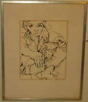 Original Vintage 1965 GINO HOLLANDER Modernist 'Young Boy' Black Ink DRAWING MCM