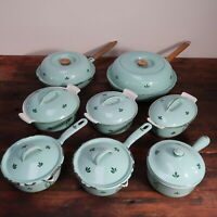 Set of 8 Green Tulip Enamel Cast Iron Skillet Dutch Oven Pot Made in Holland