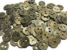 "50 Antique (old) Brass Metal Button Vintage Hammered Finish 13mm 1/2"" 2hole"