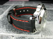 New BIG CROCO 24mm PANERAI Black LEATHER STRAP Red Stitch watch Band 24