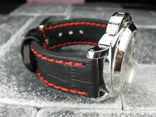 New BIG CROCO 24mm PANERAI Black LEATHER STRAP Red Stitch watch Band 24