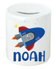 Personalised Any Name Rocket Savings Children Funny Money Box Printed Gift