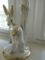 Vintage Mid Century Pottery White Gold Christmas Fawn DEER Figurine