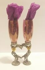Gorgeous Fellowship Foundry Pewter Gold Heart Rose Champagne Toasting Glasses