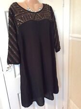 Monsoon Black Gold Beading Long Tunic Top Bust 44 Inches  Vgc Hols 13/6 To 20/6