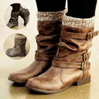 Womens Lady Combat Army Military Mid-Calf Boots Biker Punk Zip Buckle Shoes Size