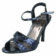 Anne Michelle l3413 Black, Gold Or Navy Glitter Strap Evening Sandals