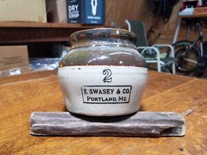 Antique 2GL E. Swasey & Co. Portland Maine USA Brown Stoneware Advertising Crock