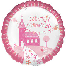 """18"""" 1ST FIRST HOLY COMMUNION PINK GIRL CHURCH HELIUM FOIL BALLOON PARTY 35710"""