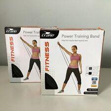 2x Crane Fitness Power Training Bands Medium Strength Muscle Building #904