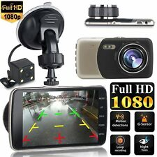 "4"" Dual Lens Camera Full HD 170° 1080P Car DVR Video Dash Cam Recorder G-Sensor"