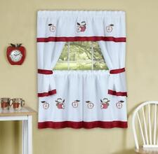 gala embroidered apples COMPLETE KITCHEN CURTAIN SET- WINDOW CURTAIN FRUITS