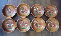 "Set of 8 Vintage Farmhouse Hand Painted Rooster 6"" Wood Bowls Woodcroftery USA"