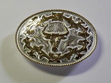 NEW GERMAN SILVER LONGHORN COWBOY WESTERN BELT BUCKLE