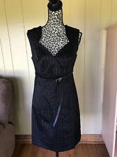 Venus Size 8 Dress Gray Career Sleeveless Pencil Knee Length jacket pinstripe