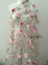 """Lace Fabric Organza 3D Pink Chiffon Rose Floral Embroidery 55"""" Wide By Meter New"""