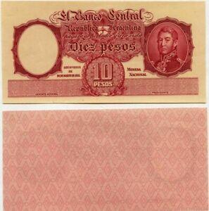 Argentine UNC P-265 10 Pesos Imprimantes Preuve Speciman ~ Rare ~ Général San