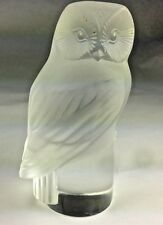 SUPERB LALIQUE FRANCE WISE OWL HIBOU ART GLASS PAPERWEIGHT FIGURINE SCULPTURE