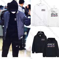 KPOP EXO Baekhyun Cap Hoodie Sweater Black Only New York City Long Sleeve