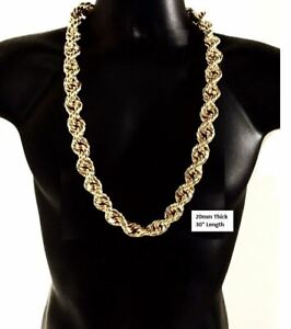 """Hip Hop 14K Gold Plated Large 20mm 30"""" inch NWA Run DMC Rope Chain Necklace"""