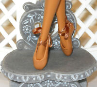 SHOES Barbie 2015 Misty Copeland Ballet Ballerina Slippers Brown Tan Ribbon Ties