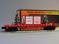 MTH RAIL KING CHRISTMAS FLATCAR LIGHTED TREES O GAUGE train car RED 30-76732 NEW