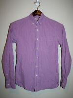 Mens J.CREW Slim Fit Purple White Checkered Buttond Down Long Sleeve Shirt XS