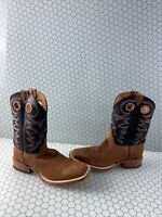 JUSTIN Bent Rail Black/Brown Leather Square Toe Western Boots Men's Size 11.5 D