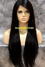 Long Straight Jet Black Lace Front Full Wig Heat Ok Hair Piece #1 NWT