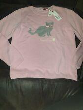 Girls Pink fluffy cat jumper