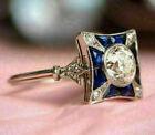 Vintage Art Nouveau Engagement Antique Ring 14K White Gold Over 0.52 Ct Diamond