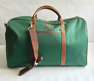 Vintage Ralph Lauren Polo Green Canvas Large Duffle Bag Weekend Travel Carry On