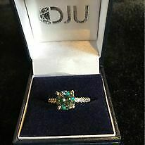 2ct blue massive earth diamond engagement ring with white diamond accents size M
