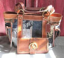 COACH 10002 DENIM PATCHWORK TOTE~LIMITED EDITION~BLUE~& FREE WALLET~TOBACCO