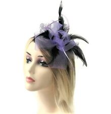 Beautiful Lilac and Black Bow Net Fascinator on Flexible Headband with Feathers