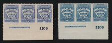 US RF2 & RF2a 2c Playing Card Revenue Plate Strips of 3 Mint XF OG H