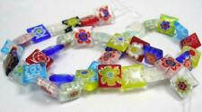 25 x 10mm Millefiori Square Flower Pattern Glass Beads Mixed Designs