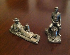 "2 Franklin Mint ""Saturday Evening Post"" Pewter Figurines Cowboy And Soldier"