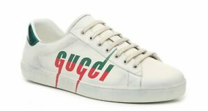 GUCCI ACE LEATHER MENS SNEAKERS WHITE BLADE SIZE G9 (U.S. 10) NWB