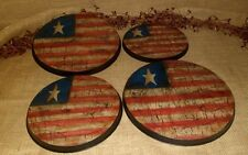 PRIMITIVE STOVE OVEN BURNER COVERS CRACKLE AMERICANA AMERICAN FLAG COUNTRY DECOR