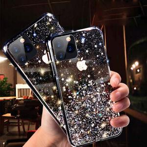 For iPhone 12 11 Pro Max Mini 7 8 XS XR Bling Glitter TPU Soft Clear Case Cover