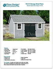 Utility Garden Shed Plans 10' x 14' Reverse Gable Roof Style, Design # D1014G