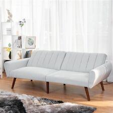 Grey Linen Split-Back Futon Sofa Bed Couch