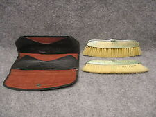 Foster & Bailey Sterling Silver Clothes Brush Pair Travel Set w/ Carrier Wallet