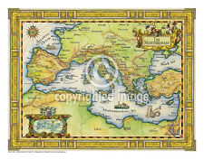 "19.5 x 25"" Mediterranean Vintage Look Map Printed on Frenchtone Parchment Paper"