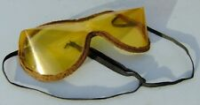 Antq/Vntg Early Amber Plastic Felt Edged w/ Ribbon Lace Ties Goggles Steampunk
