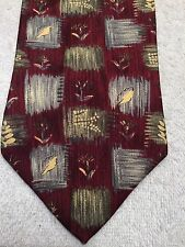 ALEXANDER JULIAN MENS TIE 56 X 4 CRIMSON RED SILVER PINE GREEN BRUSH STROKES
