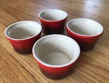 Le Creuset Stoneware Set of 4 Cerise Cherry Red Ramekins - 4 3/4 oz. Each