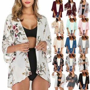 UK Size 8-22 Beach Coat Cool Bikini Women sexy Cardigan Kimono Holiday Chiffon